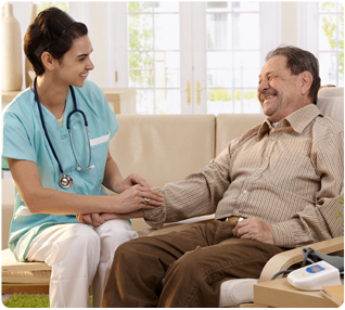 home health care worker providing care to a patient